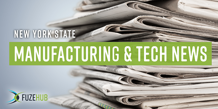 NYS Manufacturing & Tech News, newspapers are piled in the background