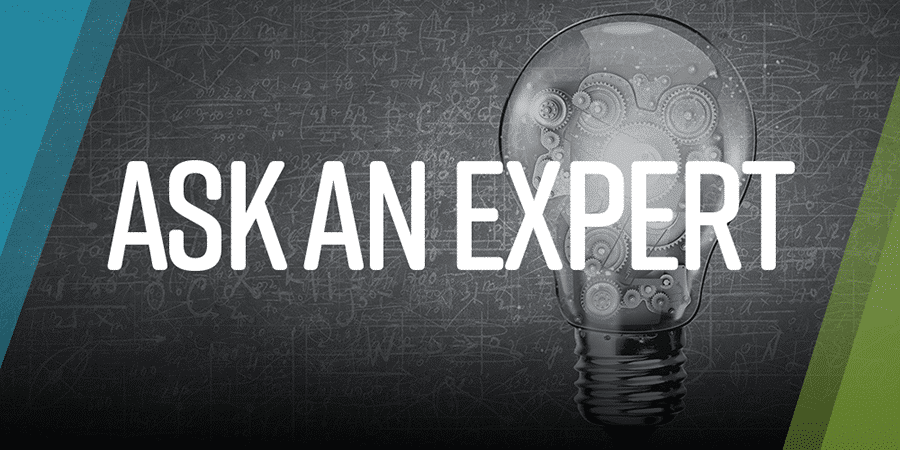 Ask an Expert with lightbulb in the background