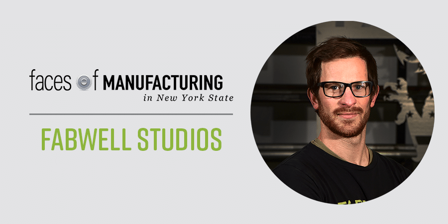 Faces of Manufacturing: Fabwekk Studios Circle Image of Phillip De Mattia wearing a black shirt and thick framed glasses